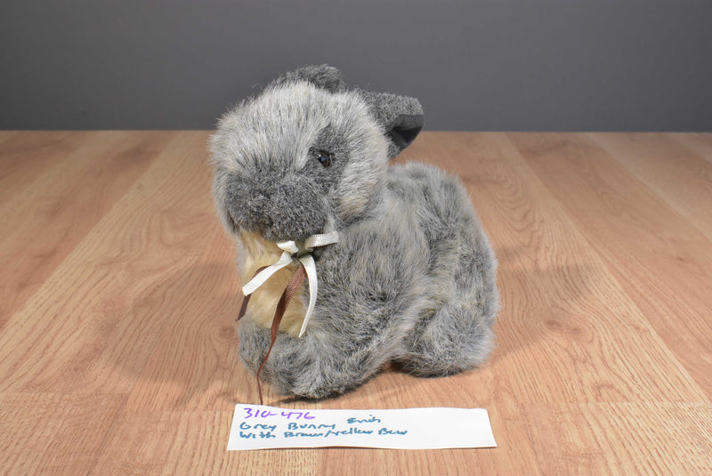 Grey and Tan Bunny Rabbit with Bow Plush