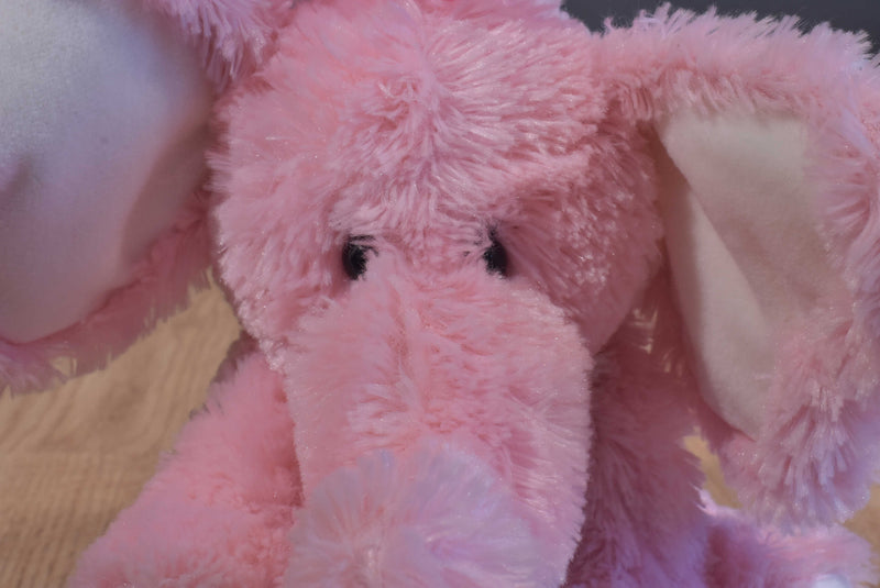 Russ Emma Pink and White Elephant Beanbag Plush