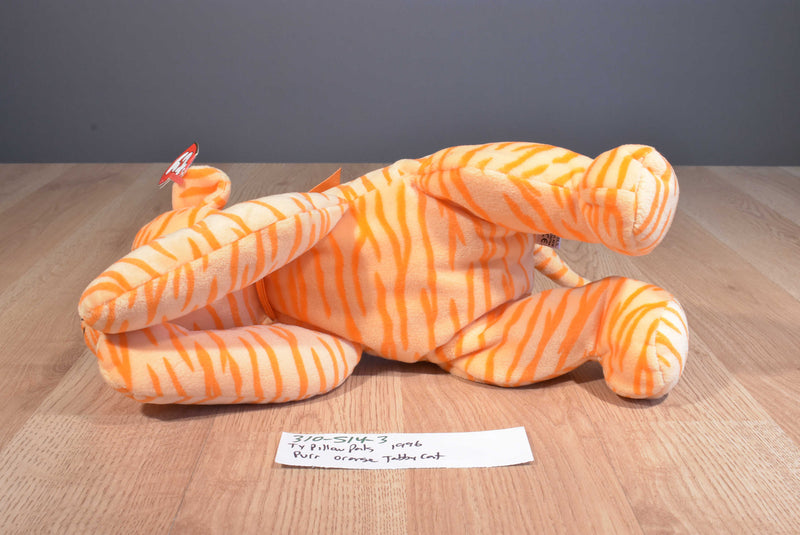 Ty Pillow Pals Purr Orange Tiger Cat 1996 Plush