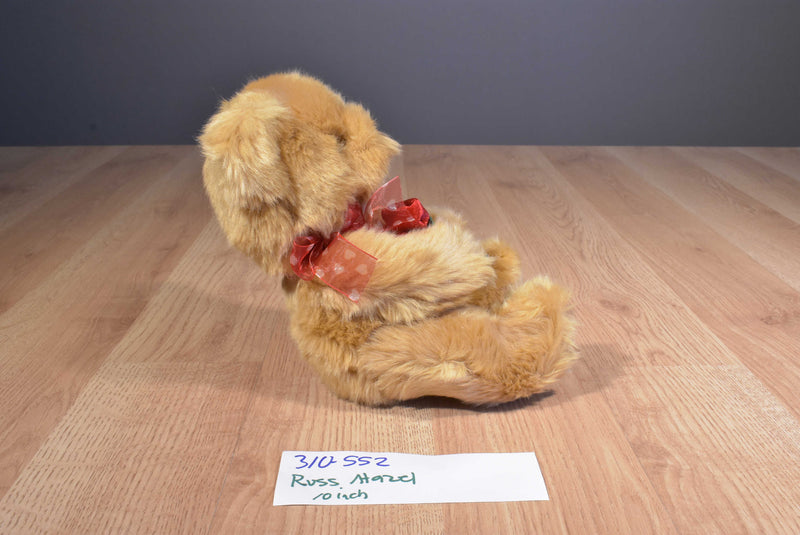 Russ Hazel Brown Bear With Red Rose Beanbag Plush