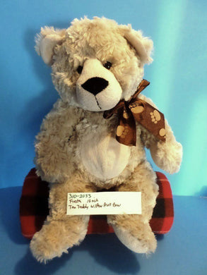Fiesta Tan/Beige Teddy Bear With Paw Print Bow(310-2033)