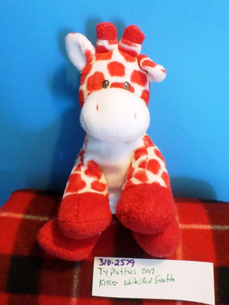 Ty Pluffies Kisser the Red and White Giraffe 2007 Beanbag Plush