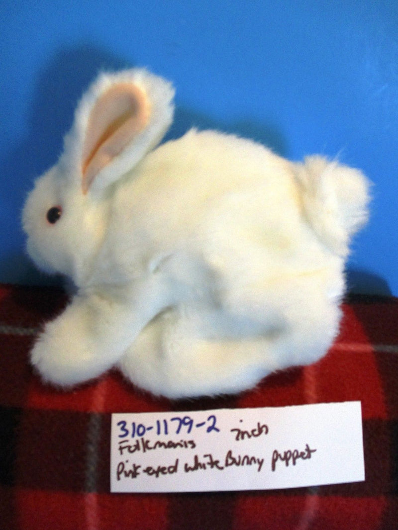 Folkmanis White Pink Eyed Bunny Rabbit Puppet Plush