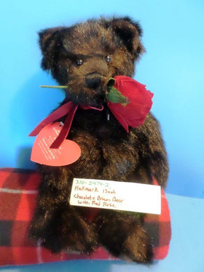 Hallmark Chocolate Brown Teddy Bear with Red Rose Beanbag Plush