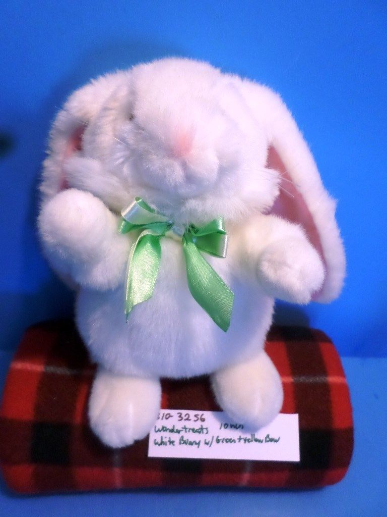 Wondertreats White Bunny Rabbit with Green and Yellow Bow Plush