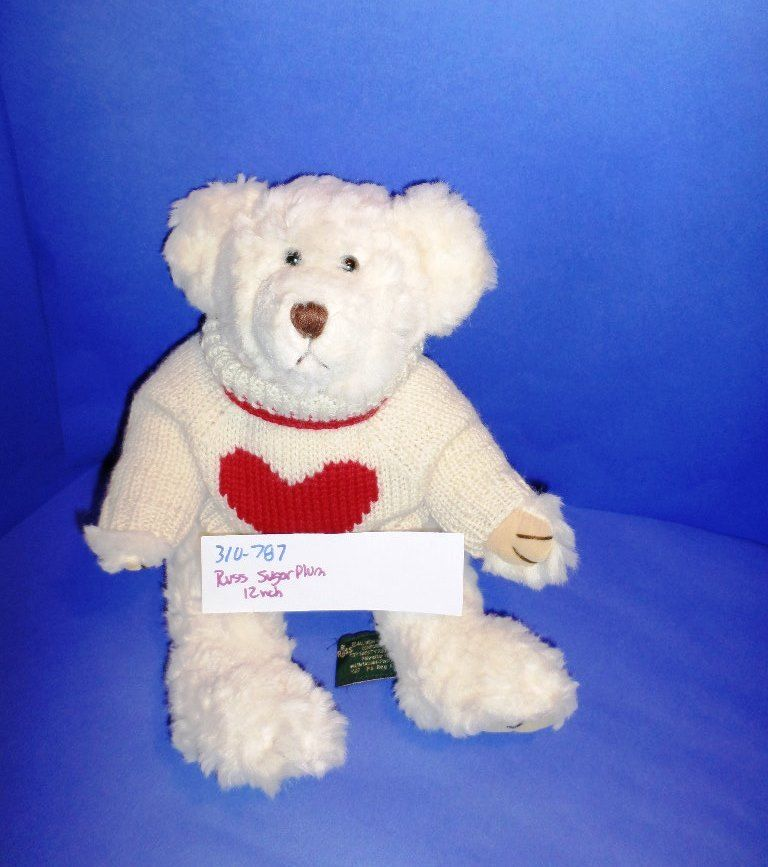 Russ Sugarplum White Bear Heart Sweater Plush
