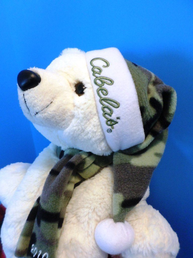 MJC Purr-fection Cabela's White Holiday Bear 2010 Beanbag Plush