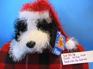 Fiesta Hi Mink Black and White Dog in Red Santa Hat 2000 beanbag plush(310-3578)
