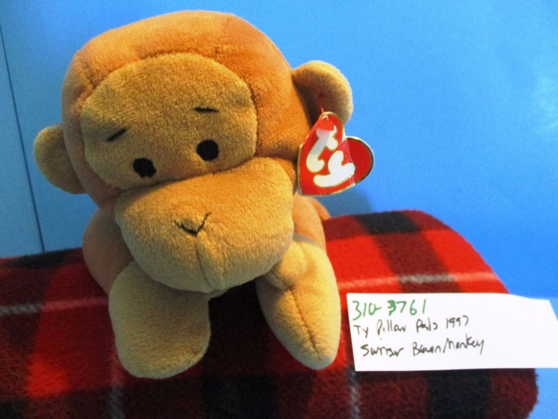 Ty Pillow Pals Swinger Brown Monkey 1997 Plush