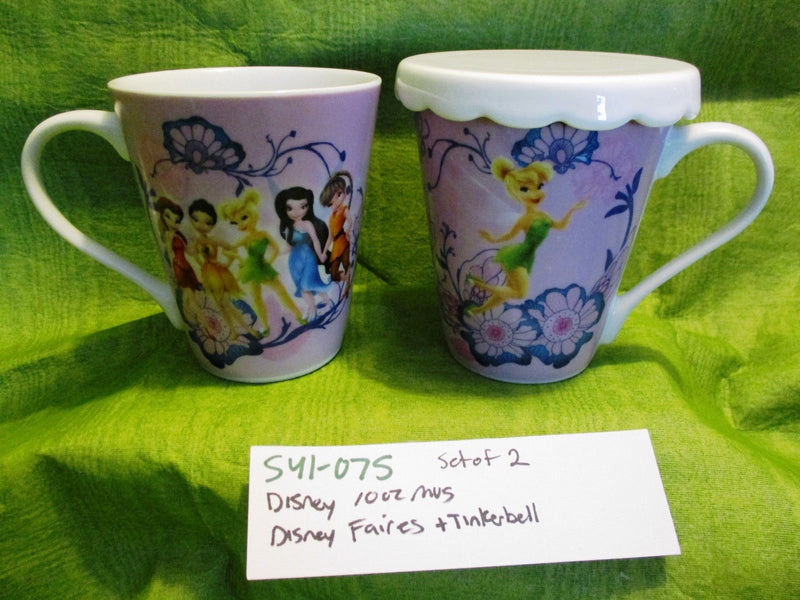 Disney Fairies Pink Tinkerbell and Friends 10 oz. Mugs Cups Set of Two