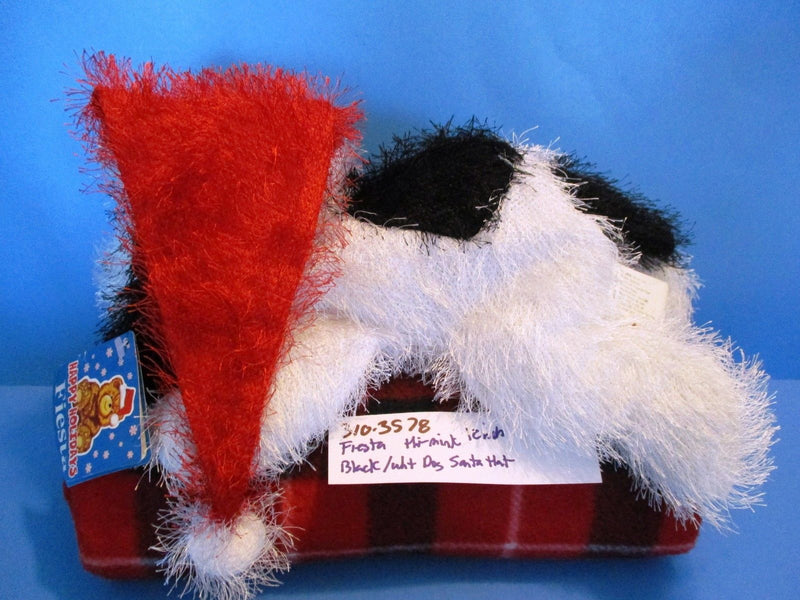Fiesta Hi Mink Black and White Dog in Red Santa Hat 2000 Beanbag Plush