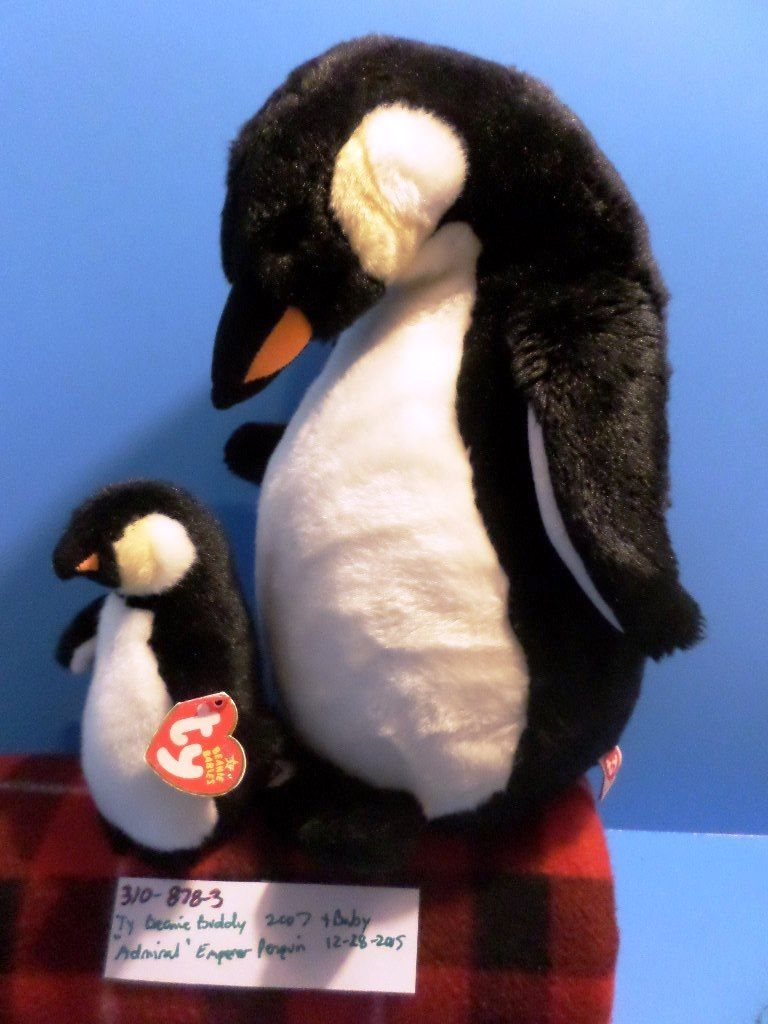 Ty Beanie Buddy 2007 and Baby 2005 Admiral Emperor Penguin Beanbag Plushes