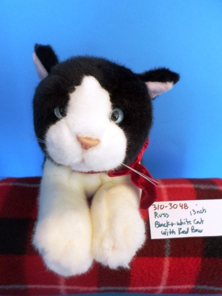 Russ Black and White Cat With Red Bow beanbag plush(310-3048)