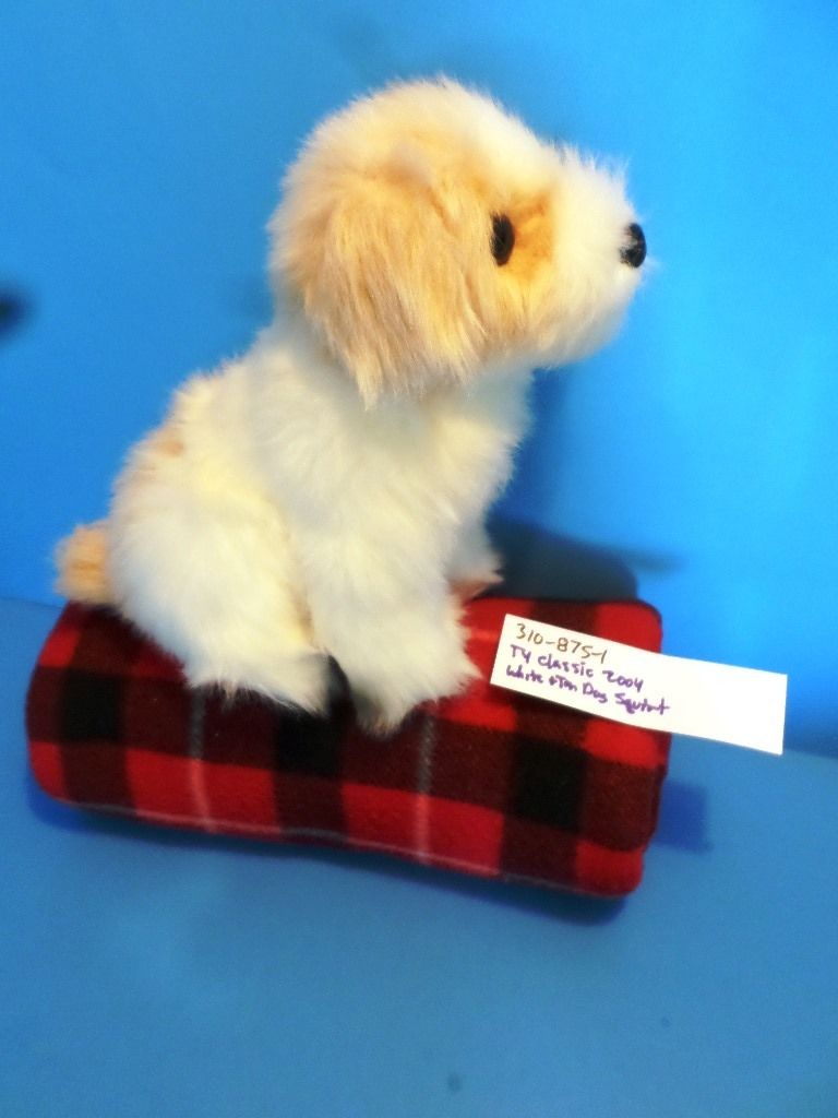 Ty Classic Squirt the White and Tan Dog 2004 Beanbag Plush