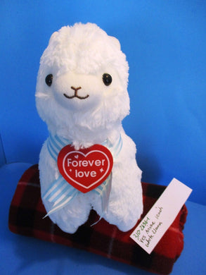Yes Anime White Llama Alpaca With Red Heart plush(310-2636-1)