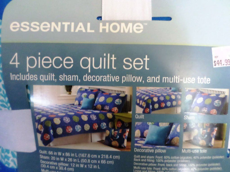 Essential Home Blue Circle Pop 4 Piece Twin Quilt Set
