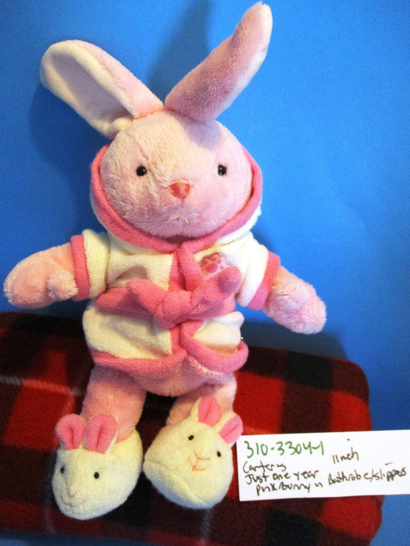 Carter's Just One Year Pink Bunny Rabbit in Bathrobe Beanbag Plush