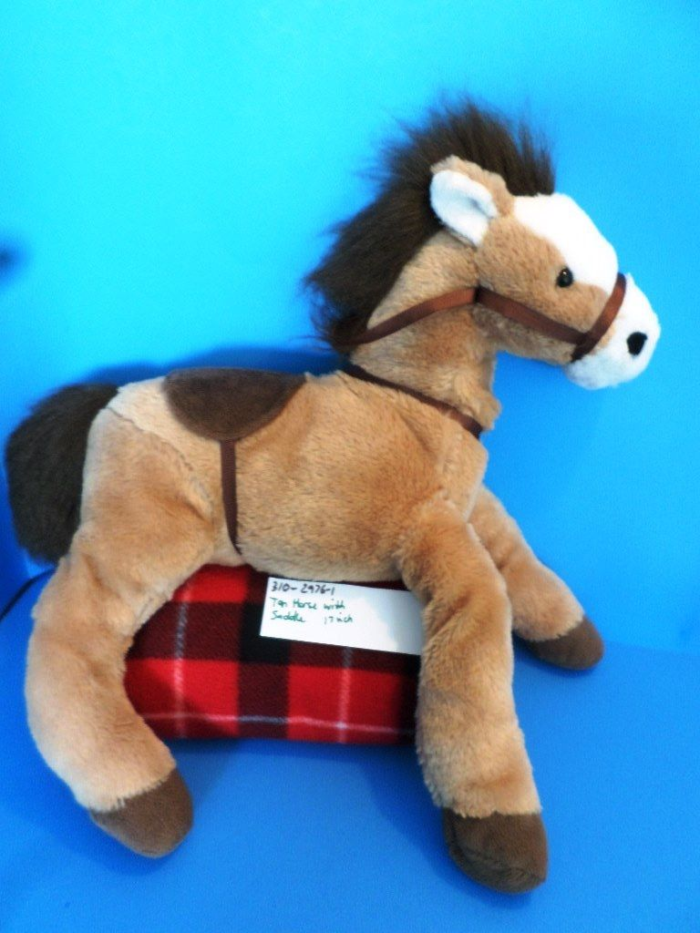 Brown and White Horse Pony With Saddle Plush