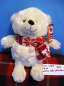 Ganz Winter Cub White Bear in Red White Scarf Beanbag Plush