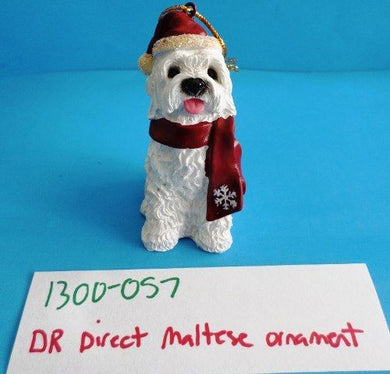 DRDirect Maltese Dog Ornament With Red Hat and Scarf