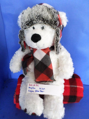 HugFun Logan the White Polar Bear in a Red Plaid Hat and Scarf(310-1632)