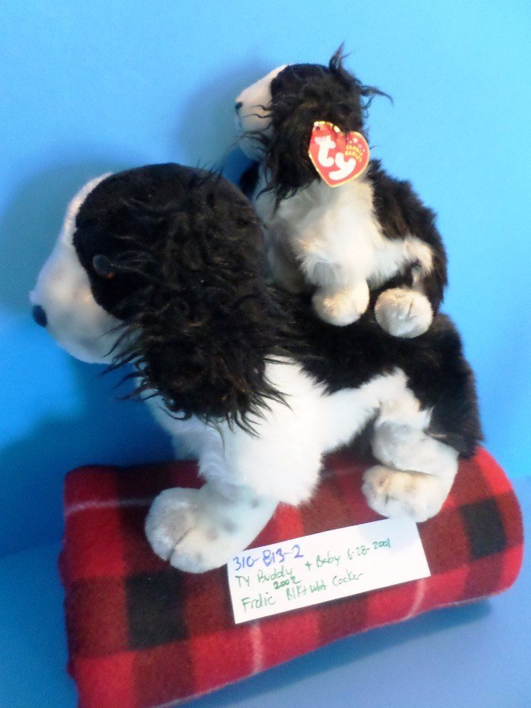 Ty Beanie Buddy 2002 and Baby 2001 Frolic Cocker Spaniel Beanbag Plushes