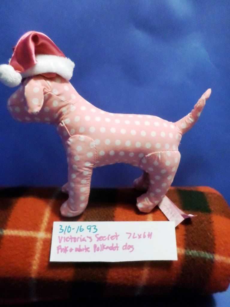 Victoria's Secret Pink White Polk-a-dot Dog with Pink Santa Hat Plush