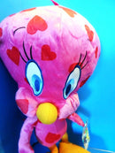 Nanco Looney Tunes Pink Tweety Bird with Hearts 2012 Plush