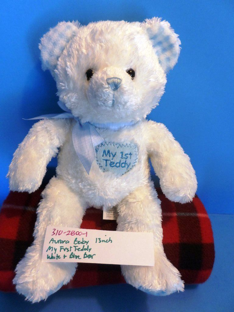 Aurora Baby My First Teddy White and Blue Beanbag Plush