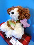 Dress Barn Biscuit Brown and White Dog With Scarf 2009 Beanbag Plush