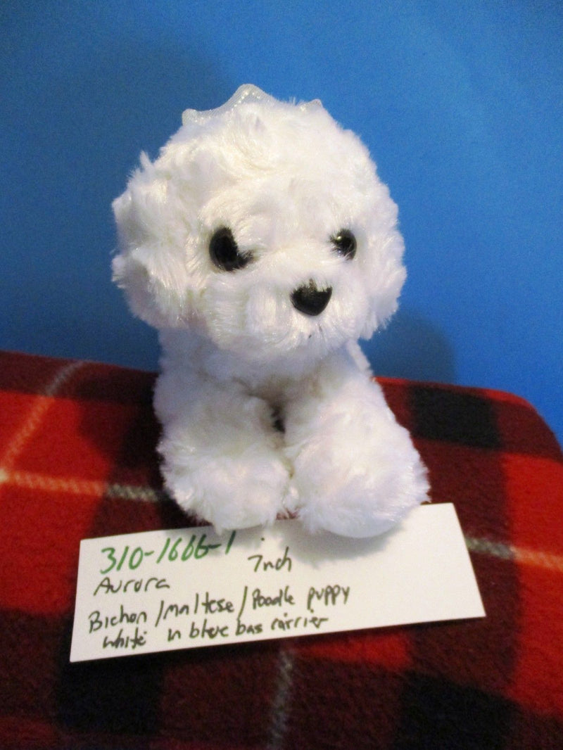 Aurora Fancy Pals Bichon Maltese Poodle in Blue Carrier Bag Plush