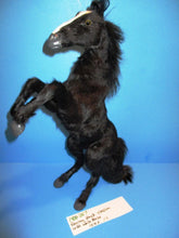 Rearing Black Stallion With White Blaze Made From Goat Pelt Fur(1400-267)