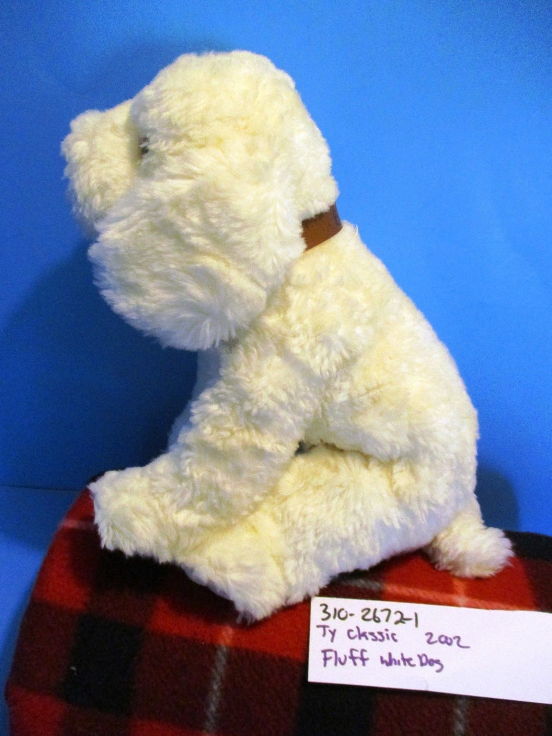 Ty Classic Fluff the White Dog 2002 Beanbag Plush