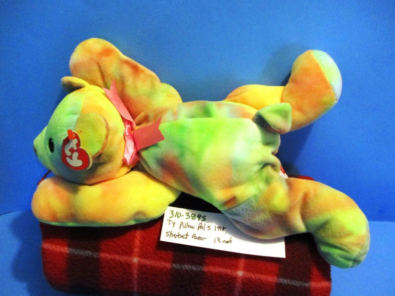 Ty Pillow Pals Sherbet Vivid Rainbow Bear 1998 Plush