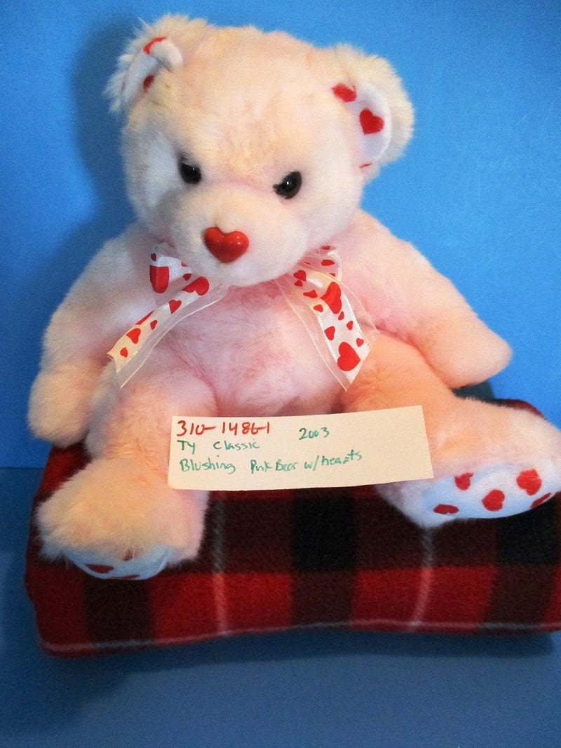 Ty Classic Blushing Pink Teddy Bear with Hearts 2003 Beanbag Plush