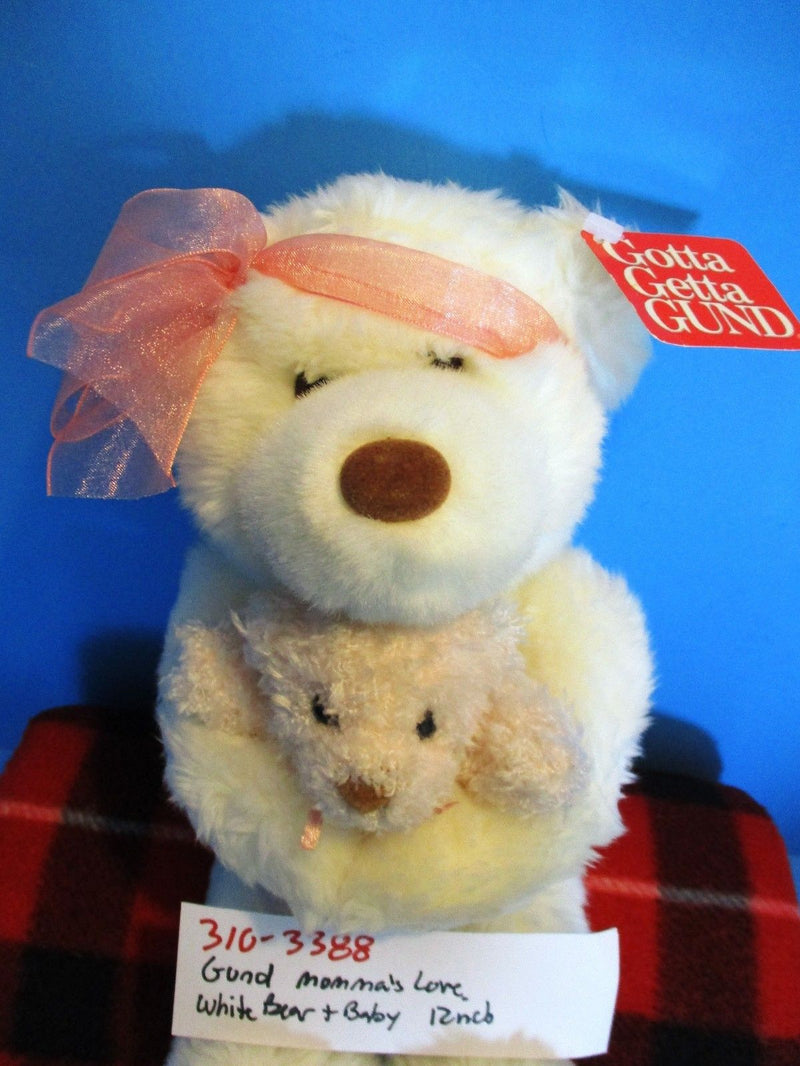 Gund Momma's Love White Bear and Baby Plush