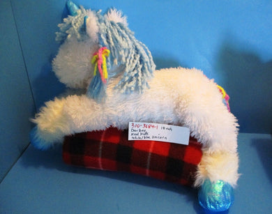 Dan Dee Kool Kids White and Blue Unicorn With Yarn Mane plush(310-3684-1)