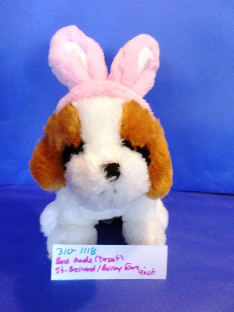 Best Made Toys Target Saint Bernard Puppy Dog with Pink Bunny Rabbit Ears Plush