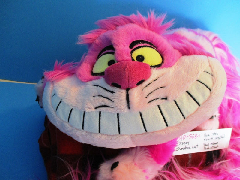 Disney Parks Alice in Wonderland Pink Cheshire Cat With Long Tail Plush