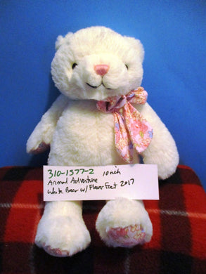 Animal Adventure White Teddy Bear With Pink Flower Feet 2017 Plush
