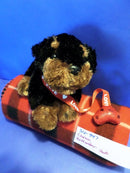 Chosun Rottweiler Puppy with Red Heart Leash Beanbag Plush