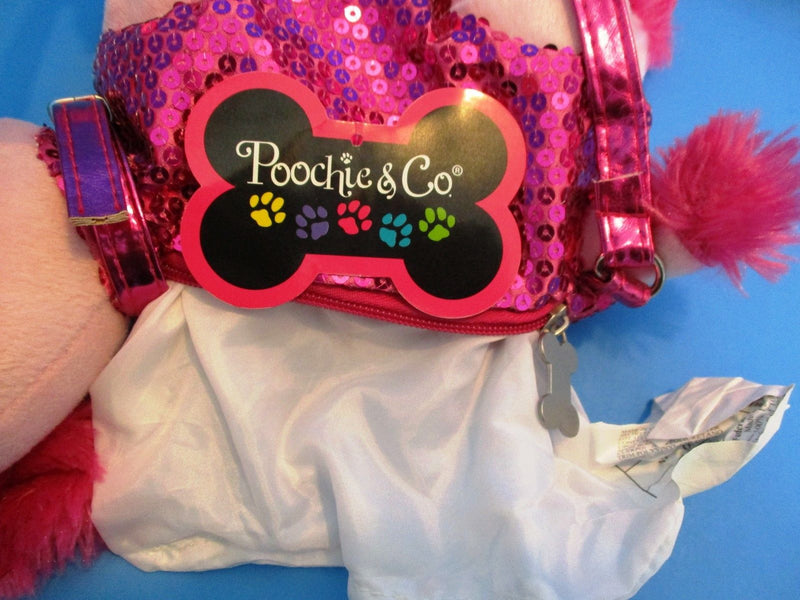 Poochie and Co. Poodle Pink Sequins Plush Bag Purse