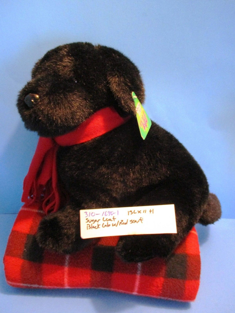Sugar Loaf Black Lab Puppy Dog With Red Scarf Plush