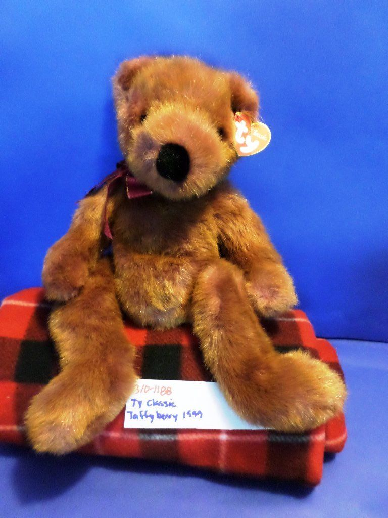 Ty Classic Taffybeary Brown Teddy Bear 1999 Beanbag Plush