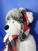 Hugfun Logan the White Polar Bear Red Plaid Hat and Scarf Plush
