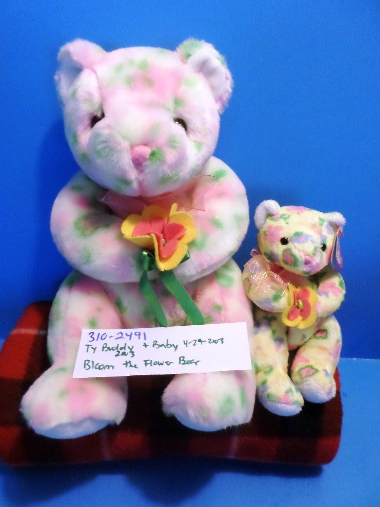 Ty Beanie Buddy and Baby Bloom the Flower Bear 2003 Beanbag Plushes