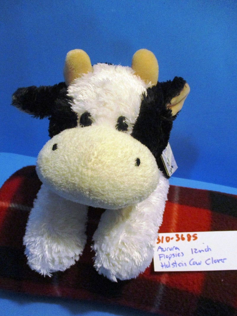 Aurora Flopsies Clover the Black and White Holstein Cow Beanbag Plush