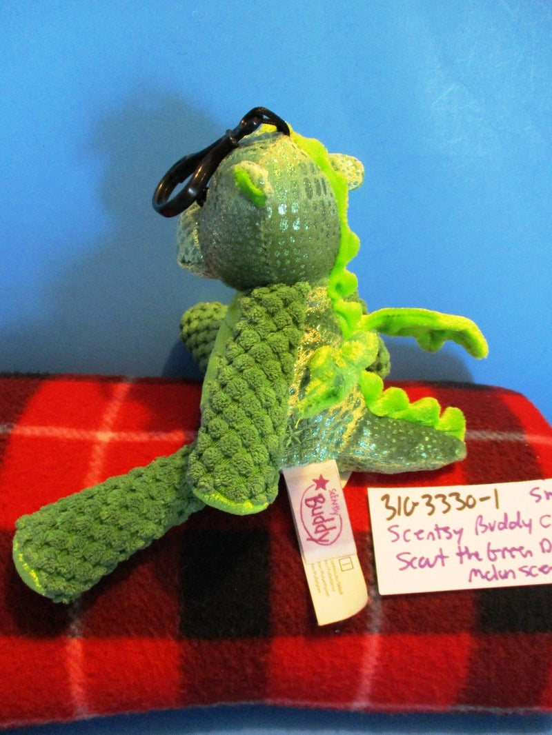 Scentsy Buddy Scout Green Dragon With Melon Scent Plush Clip