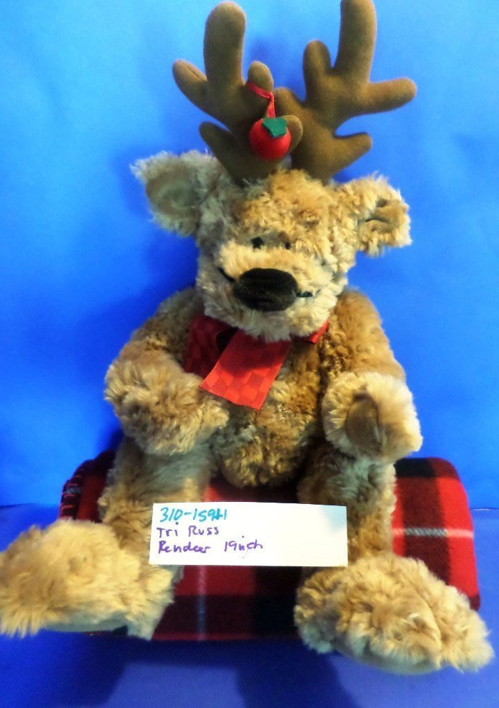 Tri Russ Brown Reindeer with Fake Nose Beanbag Plush