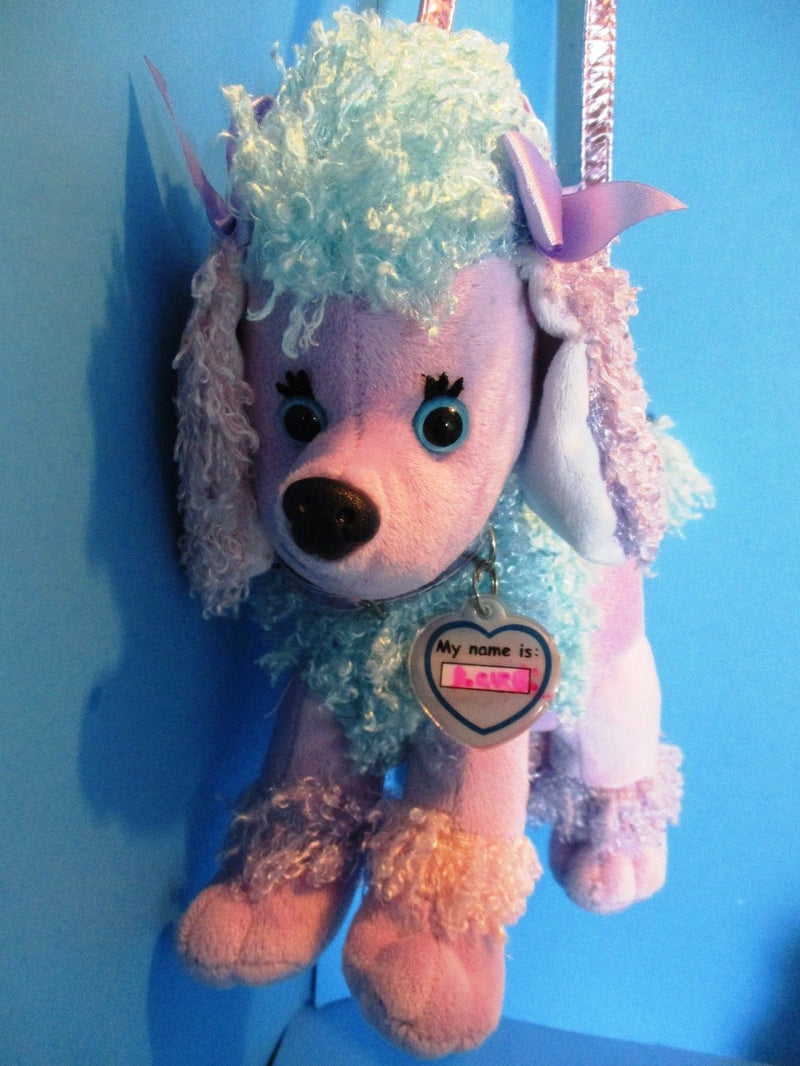 Poochie and Co. Purple Blue and Pink Poodle Plush Bag Purse